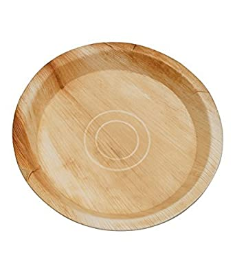 CaterEco 10-inch Deluxe Round Palm Leaf Plates Set (25 Pack) | Ecofriendly Disposable Dinnerware | Heavy Duty Biodegradable Party Utensils for Wedding, Camping & More