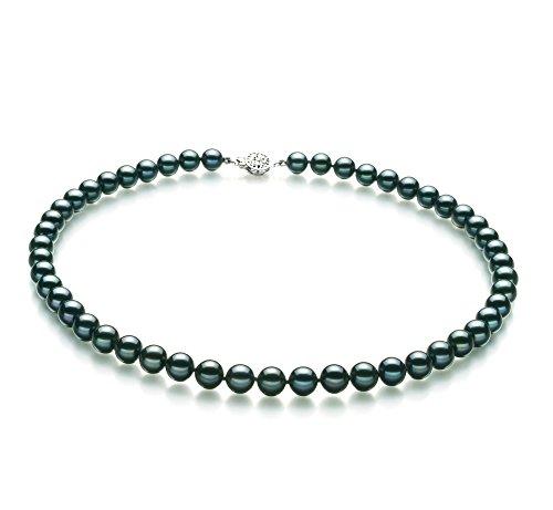 Noir 7.5-8mm AA-qualité Akoya du Japon 925/1000 Argent-Collier de perles