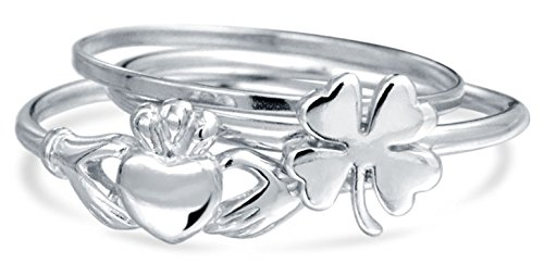 Bling Jewelry 925 Silver Lucky Irish Clover Claddagh Stackable Midi Ring Set