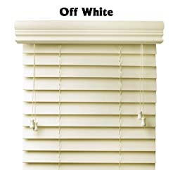 Premium 2 inch faux wood blinds, Pearl White, 18 x 60
