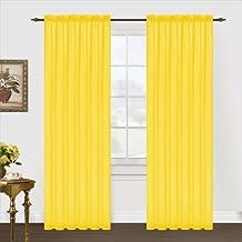Editex Home Textiles Monique Sheer Window Panel, 55 by 63-Inch, Neon Yellow
