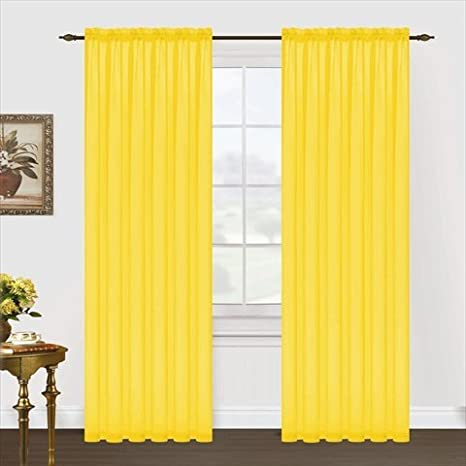 55 by 95-Inch Neon Yellow Editex Home Textiles Monique Sheer Window Panel