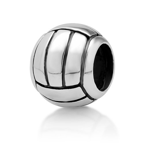 925 Sterling Silver Volleyball Bead Charm - Sterling Silver Volleyball