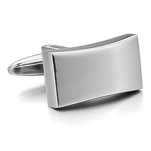 INBLUE Men's 2 PCS Stainless Steel Cufflinks Silver Tone Shirt Wedding Business 1 Pair Set ()