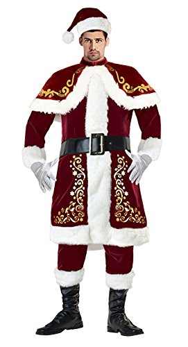 Mr Claus Costume (Killreal Men's Luxurious Adult Velvet Christmas Santa Claus Costume Outfit Dark-red Dark-red Large)