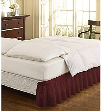 EasyFit 11577BEDDQKGCML Wrap Around Solid Ruffled Queen//King Bed Skirt 80-Inch by 60-Inch with 15-Inch drop Camel