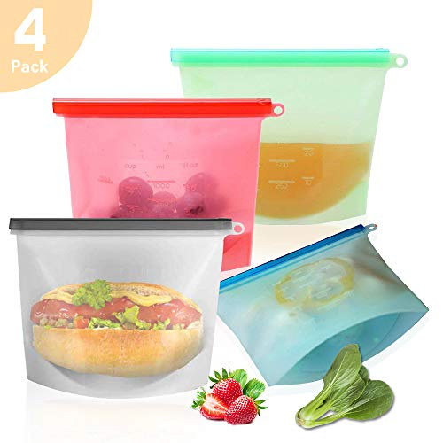 (Reusable Food Storage Bags, Xinying 4 Pack Extra Thick silicone Sandwich Bag, Airtight Leakproof Microwave Safe Freezer Bags for Lunch, Meal Prep, Snack, Liquid, Fruit,Make up )