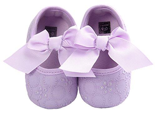 HooH Mädchen Schuhe Weiche Sohle Bowknot Spitze Krippe Walking Mokassins Prewalker Sneakers Slip On Violett