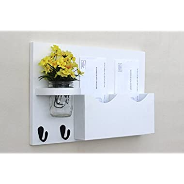 Legacy Studio Decor Double Slot Mail Organizer with Key Hooks & Mason Jar, Smooth White