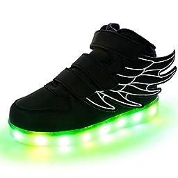 SLEVEL LED Light Up Shoes USB Flashing Sneakers for Kids Boys Girls(33Black9)
