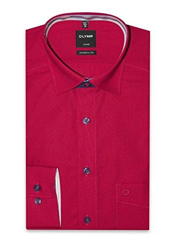 Olymp Luxor Hemd, modern fit, Langarm, rot m. Kontrastausstattung