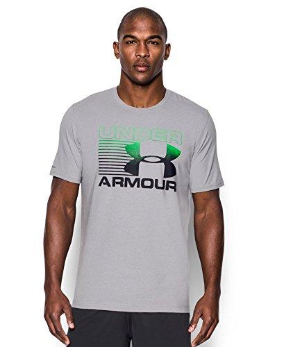Under Armour Men's Blitz Logo T-Shirt, Large, True Gray Heather/Northern Lights