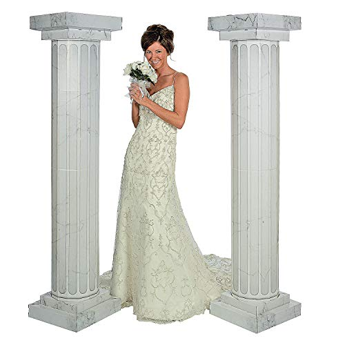 Fun Express - 6' Marble Fluted Pillars (2pc) for Wedding - Party Decor - Large Decor - 3 - D Stand Ups - Wedding - 2 Pieces