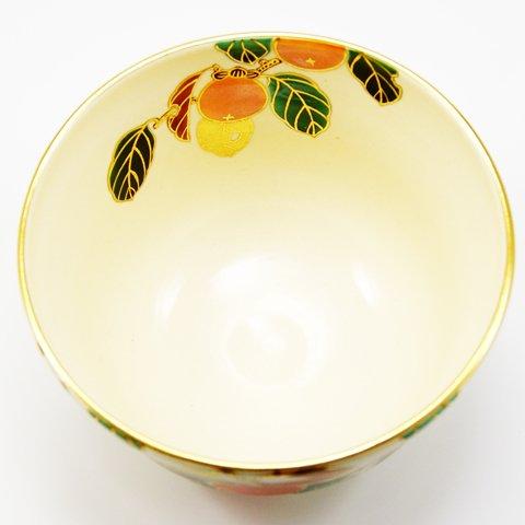 Matcha bowl overglaze enamels persimmon autumn by Minoru Park (Image #6)
