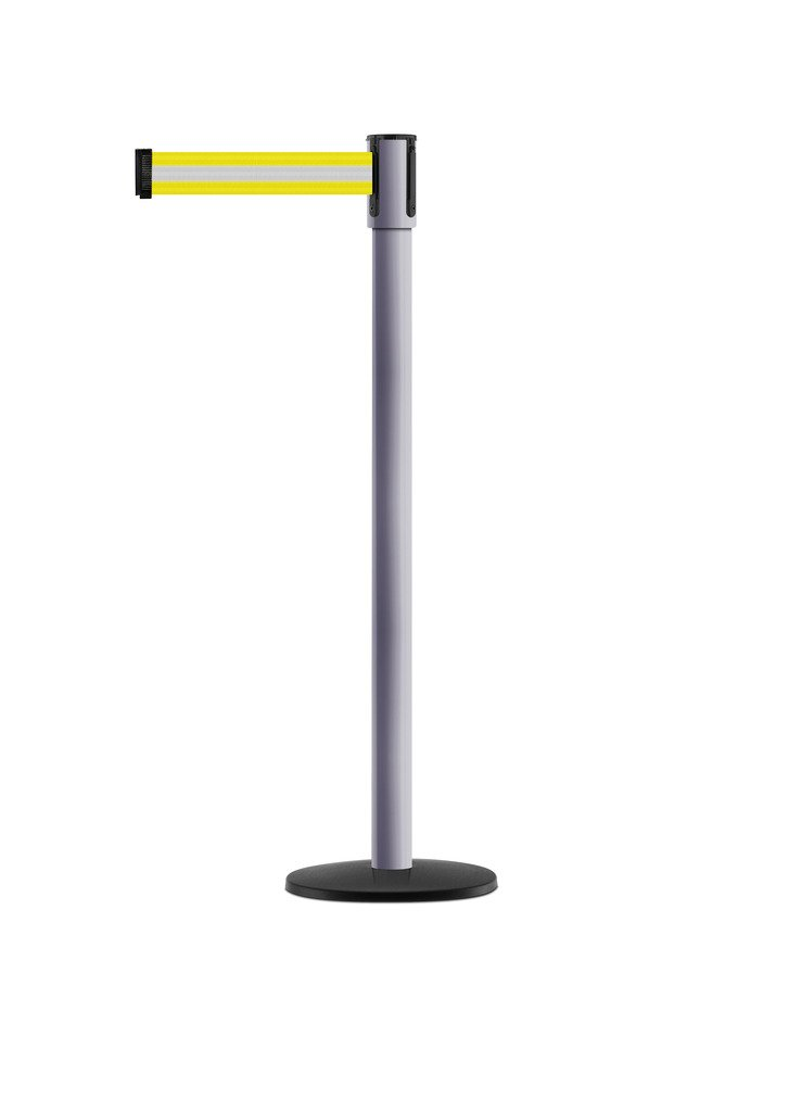 Tensabarrier - 890B-33-92-92-STD-NO-S8X-C - dove gray post, 2'' wide, 7'6'' length Yellow with Reflective Silver belt