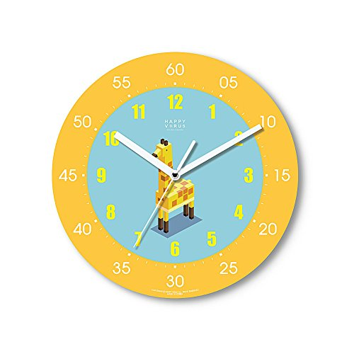 HappyVirus 11.22'' Educational Wall Clock, Children's Time Telling Teacher, Silent Non Ticking Home Decoration (Giraffe) #2027 by HappyVirus