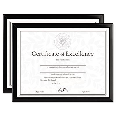 Value U-Channel Document Frames w/Certificates, 8 1/2 x 11, Black, 2/Set (18 Sets)