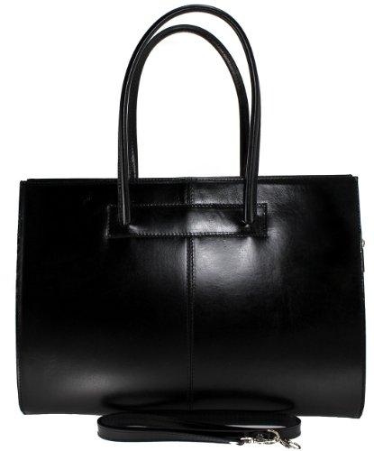 de femmes avec documents MC 40x30x12cm professionnels en pour 100 Sac véritable Fabriqué porte Noir cuir poignées Italie pEfX0q