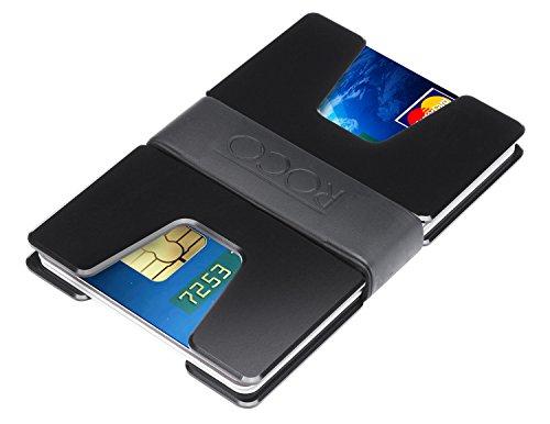 ROCO MINIMALIST Aluminum Slim Wallet RFID BLOCKING Money Clip - No.2 (U Black) ()