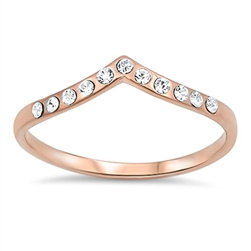 63077f3e65 Rose Gold-Tone Chevron Arrow Clear CZ Promise Ring Sterling Silver Size 10  by Sac