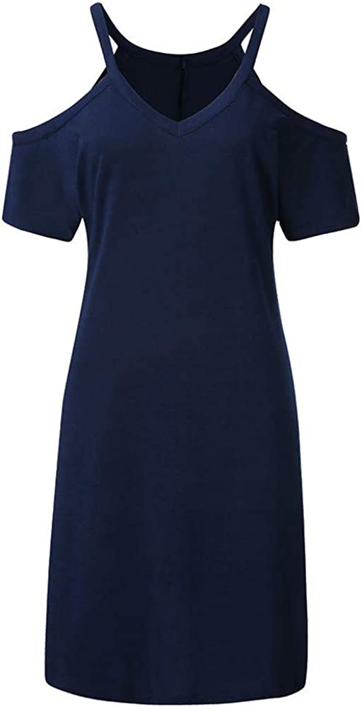 Womens V Neck Short Sleeve Cold Shoulder Solid Loose Tunic Summer T Shirt Dress Casual Tunic Top Dress
