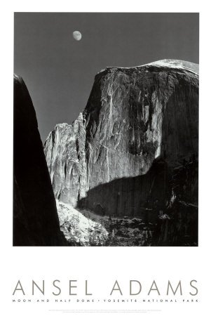Moon and Half Dome, Yosemite National Park, 1960 Art Poster Print by Ansel Adams, 24x36 (Ansel Adams Gallery Yosemite National Park)