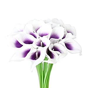 DuHouse 20Pcs Calla Lily Wedding Bouquet Artificial Real Touch Latex Flowers Home Wedding Party Decor (Purple Core White) 8