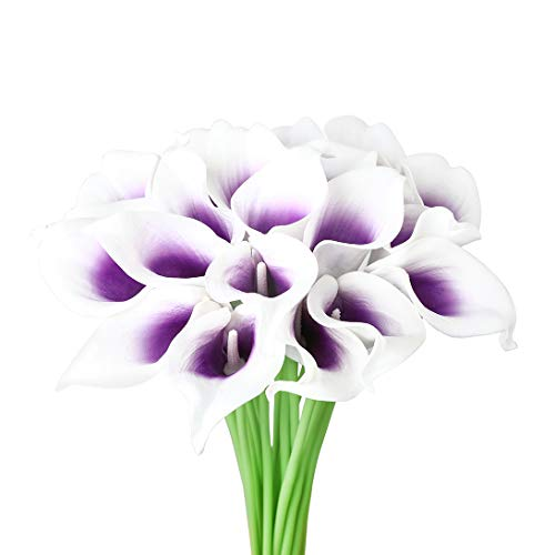 (DuHouse 20Pcs Calla Lily Wedding Bouquet Artificial Real Touch Latex Flowers Home Wedding Party Decor (Purple Core White))