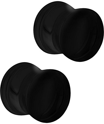 Set of 1/2 Inch Black Acrylic Ear Gauges, 12mm Solid Double Flared Saddle Plug Earrings