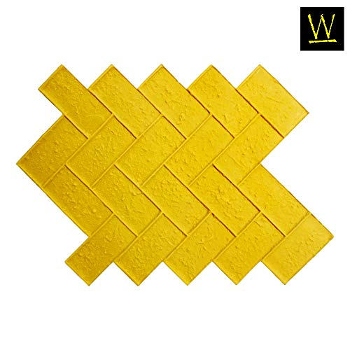 Olde Town Herringbone Brick Concrete Stamp Single by Walttools   Classic Woven Paver Pattern, Sturdy Polyurethane Texturing Mat, Decorative Realistic Detail (Yellow, -