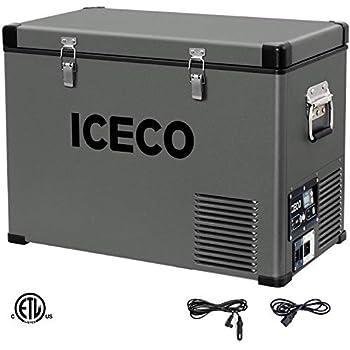 ICECO VL47 Quart Portable Refrigerator with SECOP Compressor, 45Liters Platinum Compact Refrigerator, DC 12/24V, AC 110-240V, 0℉ to 50℉, Home & Car Use (without Insulated Cover)