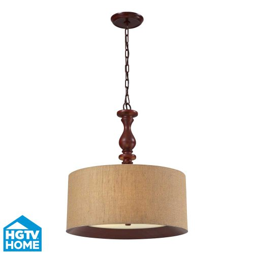 Hgtv Home 14141/3 Nathan 3-Light Pendant With Wood Shade, 20 By 23-Inch, Dark Walnut Finish