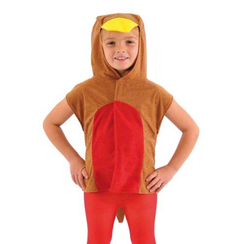 1 X Childrens Robin Red Breast Bird Tabard Fancy Dress Costume 3-9 -