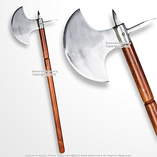 Medieval Gears Brand 35'' Iron Polished Medieval Viking Battle Axe with Spike LARP Renaissance Costume by Medieval Gears