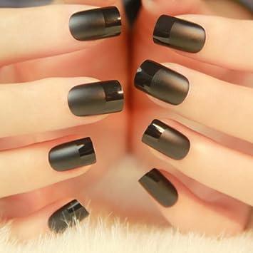 24pcs de uñas postizas negro French Manicure), monocolor: Amazon.es: Belleza