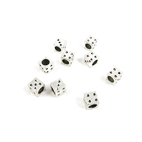 Price per Lot 10 PCS Jewelry Making Charms Antique Silver Tone Color Jewellery Charme Findingss Bulk Wholesale Suppliers Arts Crafts J3EH8 Dice Loose Beads ()