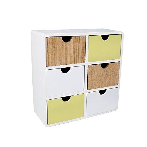 Truu Design 6-drawer Wood Cabinet, 10 x 10.25 x 4 inches, Green, White by Truu Design