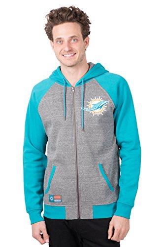 Dolphin Cotton Sweatshirt - Icer Brands NFL Miami Dolphins Men's Full Zip Fleece Hoodie Sweatshirt Raglan Jacket, Large, Gray