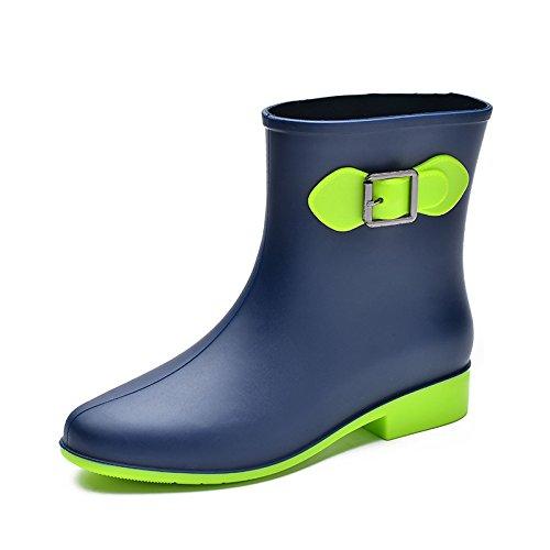 Women Non-slip Mid-Calf Flat Low Rain Boots Waterproof PVC Ankle Boots Rubber Rain Shoe Flat Boots Black