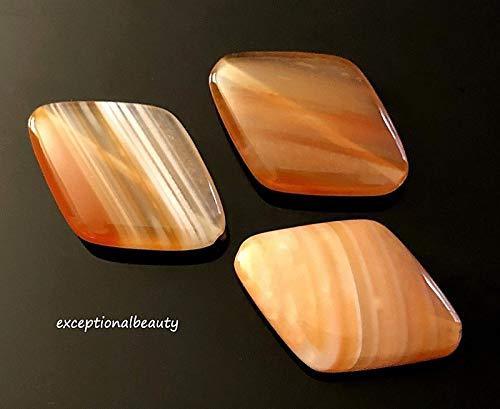 (4 Sardonyx Banded Onyx Agate Stone Focal 26x18mm Polished Diamond Shape Beads)