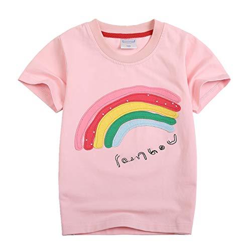 Sooxiwood Girls T-Shirt Short Sleeve Rainbow Size 2T Light-Pink