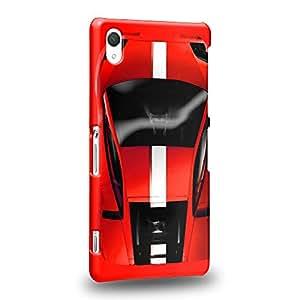 Case88 Premium Designs Art Collections Hand Drawing Sport Car Red Carcasa/Funda dura para el Sony Xperia Z2 (No Z2 Compact !)