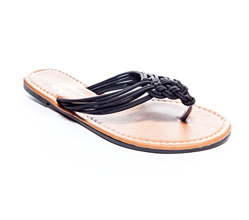 Braided Strappy Sandal (Charles Albert Women's Boho-Chic Strappy Braided Flat Sandal in Black Size: 8)