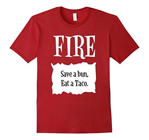 Mens Halloween Costume T Shirts - Fire Hot Sauce Packet Taco Tee XL Cranberry