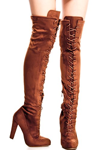 Lolli Couture für immer Link Kunstleder Lace UP lange Kampfstil mit Ferse kniehohe lange Stiefel Tan-dasia-14