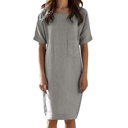 Alangbudu Women's Short Sleeve Cotton Linen T-Shirt Dress Loose Fit Midi Dress Casual Tops Tee Knee Length with Pocket Gray ()
