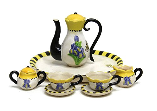Unique Design Dollhouse Miniature Semi Matte Look Finish Porcelain Tea Set, 10 pcs Set, Iris with Bee Design, Hand-Painted, Miniature Fairy Garden Accessories, DIY Charm Pendant Jewelry Supplies.