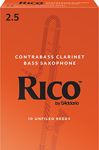 Rico by D'Addario Contra Bass Clarinet Reeds, Strength 2.5, 10-pack