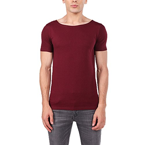 OA Men's Muscle Fit T-Shirt With Boat Neck Stretch Tee In Wine Red (Boys Slim Boat)
