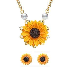 Hypoallergenic Sunflower Pearl Leaf Chain Resin Boho Handmade Drop Pendant Necklace Plated Sunflower Resin Earring Set